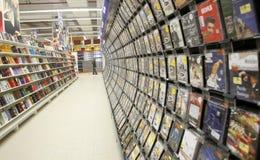Βιβλία, κινηματογράφοι και τμήμα μουσικής   Στοκ φωτογραφία με δικαίωμα ελεύθερης χρήσης
