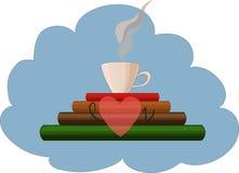 Βιβλία, φλυτζάνι, καρδιά ελεύθερη απεικόνιση δικαιώματος