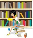 Βιβλίο ανάγνωσης στη βιβλιοθήκη διανυσματική απεικόνιση