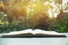 βιβλίο ανοικτό Βιβλίο ανοικτό στον παλαιό ξύλινο πίνακα στο υπόβαθρο φύσης Στοκ φωτογραφίες με δικαίωμα ελεύθερης χρήσης