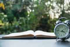 βιβλίο ανοικτό Βιβλίο ανοικτό στον παλαιό ξύλινο πίνακα στο υπόβαθρο φύσης Στοκ Εικόνα