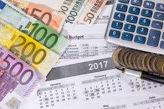 βιβλίο απολογισμού και λογαριασμοί ευρώ, υπολογιστής Στοκ Εικόνες