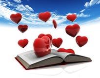 Βιβλίο και καρδιές Στοκ φωτογραφία με δικαίωμα ελεύθερης χρήσης