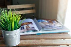 Βιβλίο και μικρό δοχείο στον πίνακα στο καθιστικό στοκ εικόνα με δικαίωμα ελεύθερης χρήσης