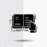 βιβλίο, μάθημα, μελέτη, λογοτεχνία, που διαβάζει το εικονίδιο Glyph στο διαφανές υπόβαθρο r απεικόνιση αποθεμάτων
