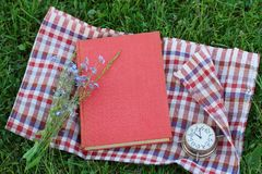 Βιβλίο με μια κενή κάλυψη στη χλόη, τοπ άποψη outdoor reading στοκ φωτογραφία