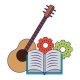 Βιβλίο με τα εργαλεία και τις μπλε γραμμές οργάνων μουσικής κιθάρων ελεύθερη απεικόνιση δικαιώματος