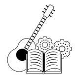 Βιβλίο με τα εργαλεία και όργανο μουσικής κιθάρων σε γραπτό απεικόνιση αποθεμάτων