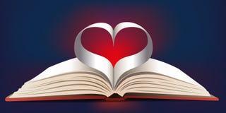 Βιβλίο που διαμορφώνει μια καρδιά με τις σελίδες του απεικόνιση αποθεμάτων