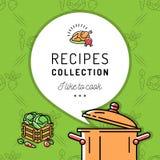 Βιβλίο συνταγής, Cookbook, επιλογές κάλυψης Βράζοντας δοχείο, εικονίδιο ατμού Μαγειρικό και υπόβαθρο λαχανικών Στοκ φωτογραφία με δικαίωμα ελεύθερης χρήσης