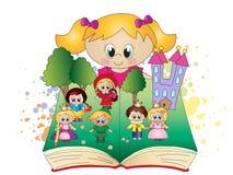 Βιβλίο φαντασίας με το κορίτσι Στοκ Εικόνες