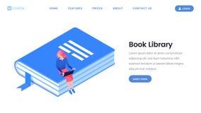 Βιβλίων isometric πρότυπο σελίδων βιβλιοθηκών προσγειωμένος στοκ φωτογραφία με δικαίωμα ελεύθερης χρήσης