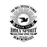 Βιβλική απεικόνιση Χριστιανική εγγραφή Θα λάβετε τη δύναμη όταν έρθει το ιερό πνεύμα επάνω σε σας και θα είστε το witne μου διανυσματική απεικόνιση