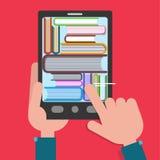 Βιβλία ανάγνωσης EBook με τα χέρια ελεύθερη απεικόνιση δικαιώματος