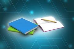 Βιβλία και μολύβι, έννοια εκπαίδευσης Στοκ Φωτογραφία