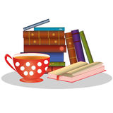 Βιβλία και φλυτζάνι του τσαγιού Στοκ Φωτογραφία
