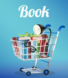 Βιβλία που διαβάζουν τα γυαλιά ανάγνωσης λαμπτήρων και το βιβλίο σκουληκιών σε ένα κάρρο αγορών ελεύθερη απεικόνιση δικαιώματος