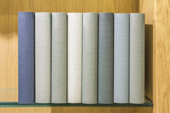 Βιβλία στο ράφι γυαλιού Στοκ εικόνα με δικαίωμα ελεύθερης χρήσης