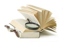 Βιβλία Eading με έναν φακό στο διανεμημένο χρόνο Στοκ Φωτογραφία
