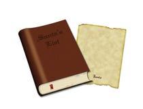Βιβλίο καταλόγων Santa και παλαιό έγγραφο περγαμηνής για την επιστολή Στοκ Εικόνα