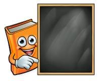 Βιβλίο κινούμενων σχεδίων και σχολικός πίνακας Στοκ φωτογραφίες με δικαίωμα ελεύθερης χρήσης