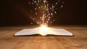 Βιβλίο που ανοίγει στις πετώντας χρυσές επιστολές