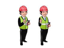 Βιβλίο προγραμμάτων εκμετάλλευσης εργατών οικοδομών, μηχανικών ή αρχιτεκτόνων Χαρακτήρας κινουμένων σχεδίων - διανυσματική απεικό Στοκ Φωτογραφίες