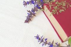 Βιβλίο του κόκκινου χρώματος με τα μπλε λουλούδια σε ένα άσπρο υπόβαθρο Στοκ Φωτογραφίες