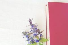 Βιβλίο του κόκκινου χρώματος στα λουλούδια σε ένα άσπρο υπόβαθρο Στοκ φωτογραφία με δικαίωμα ελεύθερης χρήσης
