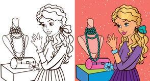 Βιβλίο χρωματισμού του κοριτσιού κοντά στο παράθυρο απεικόνιση αποθεμάτων