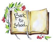 Βιβλίο, floral και κείμενο Watercolor Λέξεις καλλιγραφίας πίσω στο σχολείο Εκλεκτής ποιότητας υπόβαθρο εκπαίδευσης Σύμβολο του σχ Στοκ Εικόνες