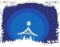 Βιβλική σκηνή - γέννηση του Ιησού στη Βηθλεέμ. Στοκ Εικόνα