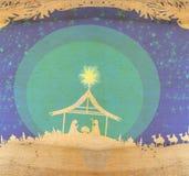 Βιβλική σκηνή - γέννηση του Ιησού στη Βηθλεέμ Στοκ φωτογραφία με δικαίωμα ελεύθερης χρήσης