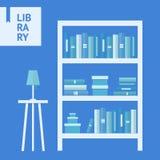 Βιβλιοθήκη επίπεδη Στοκ Εικόνες