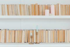 Βιβλιοθήκη που θέτει με τα παλαιά βιβλία Στοκ Εικόνες