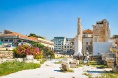 Βιβλιοθήκη του Αδριανού στην Αθήνα, Ελλάδα Στοκ Εικόνες