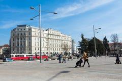 ΒΙΕΝΝΗ, ΑΥΣΤΡΙΑ - 10 ΜΑΡΤΊΟΥ 2018: Παλαιό κόκκινο τραμ στις οδούς Στοκ Εικόνες