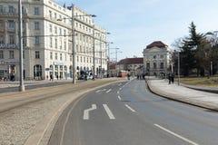 ΒΙΕΝΝΗ, ΑΥΣΤΡΙΑ - 10 ΜΑΡΤΊΟΥ 2018: Παλαιό κόκκινο τραμ στις οδούς Στοκ φωτογραφία με δικαίωμα ελεύθερης χρήσης