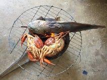Βιετναμέζικο BBQ serrata Scylla καβουριών λάσπης καβούρι ή ψημένο στη σχάρα καβούρι Στοκ φωτογραφία με δικαίωμα ελεύθερης χρήσης