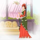 Βικτοριανή γυναίκα με την ομπρέλα απεικόνιση αποθεμάτων