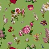 Βικτοριανό άνευ ραφής υπόβαθρο λουλουδιών Στοκ φωτογραφίες με δικαίωμα ελεύθερης χρήσης