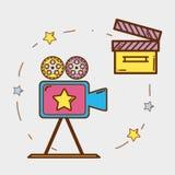 Βιντεοκάμερα με clapper τον πίνακα και filmstrips Στοκ εικόνες με δικαίωμα ελεύθερης χρήσης