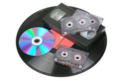 Βινυλίου δίσκος, ακουστικές και τηλεοπτικές κασέτες Στοκ εικόνα με δικαίωμα ελεύθερης χρήσης