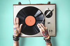 Βινυλίου ακουστική μουσικής έννοια τέχνης δερματοστιξιών ρυθμού παίζοντας Στοκ εικόνες με δικαίωμα ελεύθερης χρήσης