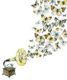 Βινυλίου gramophone και απεικόνιση πεταλούδων Στοκ Εικόνες