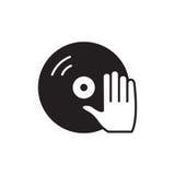 Βινύλιο και εικονίδιο χεριών του DJ καθορισμένο διάνυσμα συμβόλων φλογών χρώματος Στοκ φωτογραφία με δικαίωμα ελεύθερης χρήσης