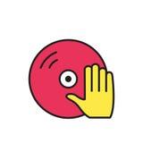 Βινύλιο και εικονίδιο χεριών του DJ καθορισμένο διάνυσμα συμβόλων φλογών χρώματος Στοκ Εικόνες