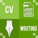 Βιογραφικό σημείωμα που γράφει πράσινους τέσσερις φραγμούς απεικόνιση αποθεμάτων