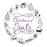 Βιολέτα στην άσπρη πώληση Χριστουγέννων εμβλημάτων Απεικόνιση αποθεμάτων