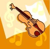 Βιολί και μουσικές νότες Στοκ φωτογραφία με δικαίωμα ελεύθερης χρήσης
